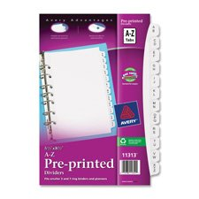 Avery - Small Preprinted Dividers, 5-1/2x8-1/2, A-Z, White