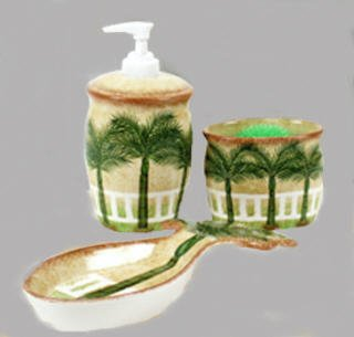 Palm tree tropic Kitchen decor scrubby holder Liquid SOAP pump dispenser Spoon Rest