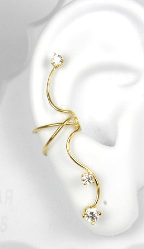 Gold Vermeil 3 Cubic Zirconia Full Ear Cuff Right Pierceless
