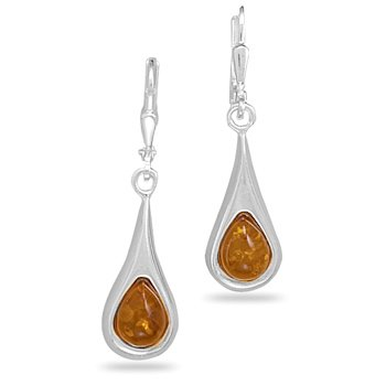 Polished Amber Earrings on Lever