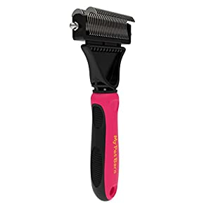 Grooming Brush and Dematting Comb- Best Tool for Dogs and Cats. Gently Removes and Untangles Knots and Matted Hair for Long or Short Coats. My Pet Barn Rake Makes Your Pets Fur Smooth and Shiny