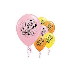 Disney Minnie 1st Birthday Latex Balloons (6) (Yellow) Party Accessory