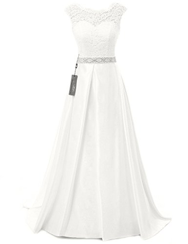JAEDEN Vintage Wedding Dresses for Bride Simple Bridal Gown Cap Sleeve Ivory US16