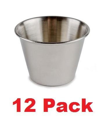 (Pack of 12) ChefLand 4 oz. Stainless Steel Ramekin / Sauce Cup, Mirror Finish