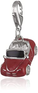 Rafaela Donata Charm Collection Damen-Charm Auto 925 Sterling Silber Emaille schwarz / rot  60600137