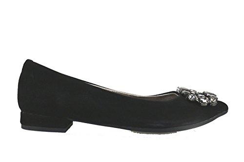 EMANUELLE VEE ballerine donna camoscio nero grigio (37 EU, Nero)
