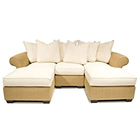 Pinzon Capitola Double-Chaise Sectional Sofa with 8 Pillows