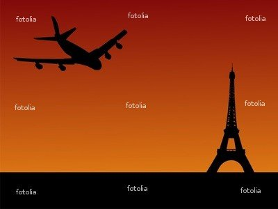 "Wallmonkeys Peel and Stick Wall Graphic - Plane Arriving in Paris - 18""W x 14""H"