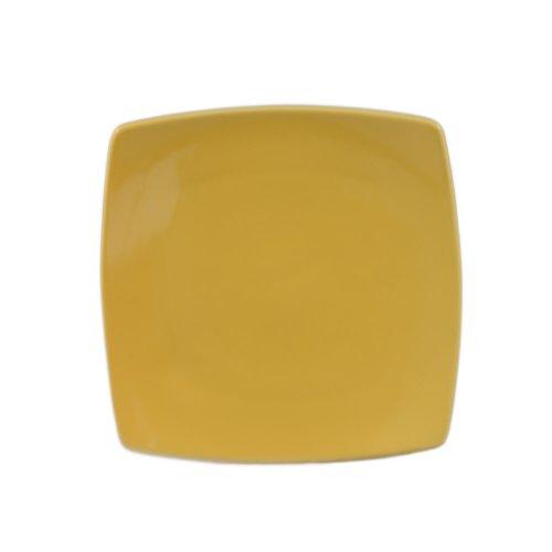 CAC China R-FS8 YELLOW Stoneware Square Flat Plate, 8-7/8-Inch, Yellow, Box of 24