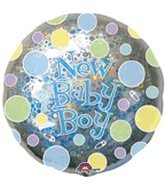 "32"" New Baby Boy Dots Holographic - 1"