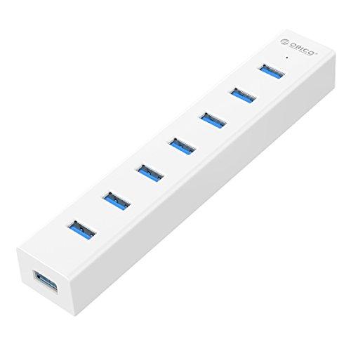 【日本直営店】 ORICO 7ポート USB3.0 ハブ 5Gbps高速転送 1m電源補助ケーブル付USB HUB VL812チップ搭載 ホワイト H7013-U3-V1