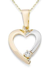 Miore Damen-Halskette Herz 375 Gelbgold 1 Zirkonia farblos 45 cm MA9032N