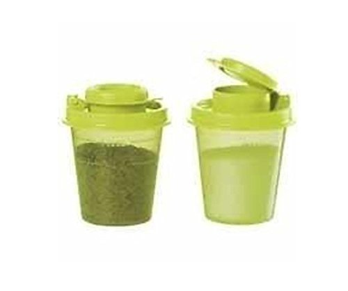 Tupperware Salt and Pepper Shakers Mini Midgets Set in Margarita Lime New 2016 (Tupperware Salt Pepper compare prices)