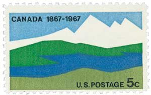 #1324 - 1967 5c Canada Centenary U. S. Postage Stamp Plate Block (4)