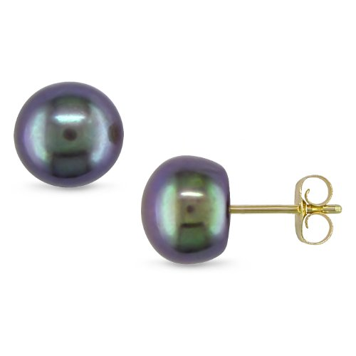 10K Yellow Gold Freshwater Black Pearl Earrings (7-7.5mm)