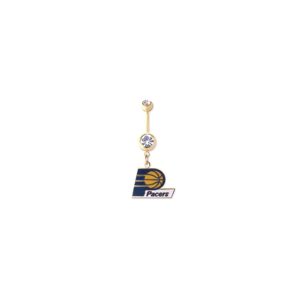 Indiana Pacers 316L Stainless Steel Belly Ring with Cubic Zirconia   Gold Plated   14G   5/8 Inch Bar Length   Sold Individually