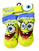 Spongebob Squarepants Booties - 1 Pair Spongebob Baby Boy Bootie Socks - Blue Trim