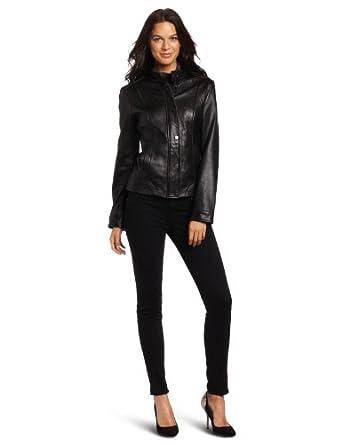 Tommy Hilfiger Women's Leather Jacket, Black, M US