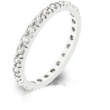 White Gold Rhodium Bonded Eternity Bridal Ring with Channel Set Clear CZ