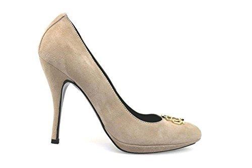 scarpe donna BRACCIALINI 39 decolte' beige camoscio AN61-H