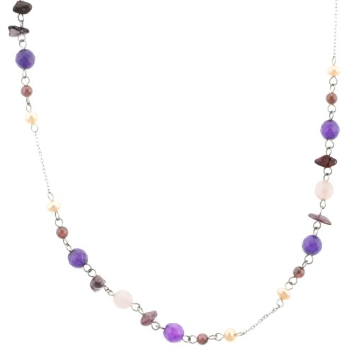Sterling Silver Rose Quartz, Amethyst and Garnet Beaded Freshwater Cultured Pearl Necklace, 33+1