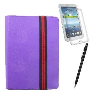 Callmate Suction Cup Cover For Samsung Galaxy Tab 3 7.0 T210/T211/T215 + Stylus Pen + Screen Guard - Purple