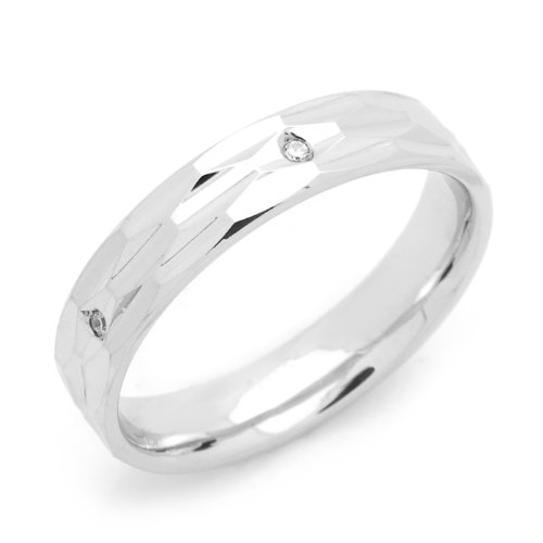 Sterling Silver Wedding Band 4MM Diamond-Cut 5 Stone Eternity Comfort Fit Ring - Size 6