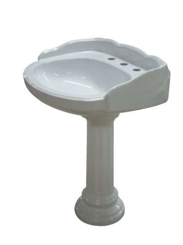 Elements of Design VPB1298 Designer Fauceture Georgian Vitreous China Pedestal Bathroom Sink with 8-Inch Centers, White (Element Center Console compare prices)