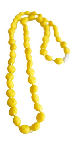Little Teether Molly Teething Necklace for Baby Nursing - Stylish Silicone Necklace for Moms, Teether for Babies. Provides Teething Pain Relief. Food-Grade Safe! Teething Remedy Approved by Mothers! - Yellow