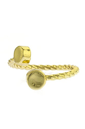 The Jewel Rack Metal Cylinder Tip Twisted Ring (Gold)