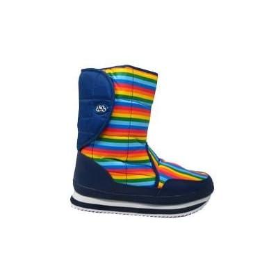 Women's Boots- Juju Striped Velcro Side Snow Boot