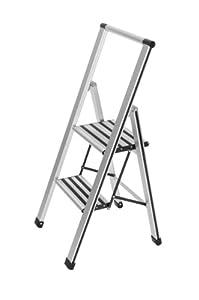 Wenko 601011100 Alu-Design Klapptrittleiter 2-stufig - Aluminium, 44 x 97 x 48 cm