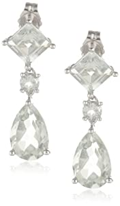 14k White Gold Pear and Square Shaped Green Amethyst Dangle Earrings