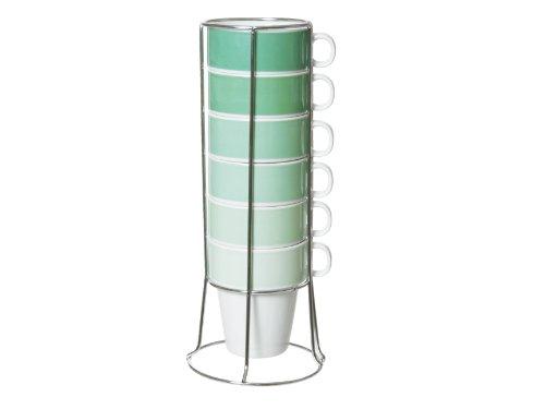 Present Time Cappuccino-Tassen aus Keramik mit Ständer, Smaragdgrün, 6 Tassen