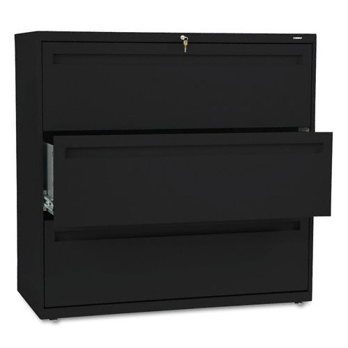 HON Products - HON - Brigade 700 Series Three-Drawer Lateral File, 42w x 19-1/4d x 40-7/8h, Black - Sold As 1 Each - Counterweight included, where applicable, to meet ANSI/BIFMA requirements. - Lock secures both sides of drawer. - Three-part telescoping slide suspension. - Leveling glides adjust for uneven floors. - Mechanical interlock allows only one drawer to open at a time to inhibit tipping.