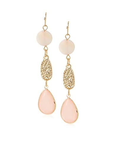 Daniela Swaebe Light Pink Shell Hammered Disc Linear Earrings