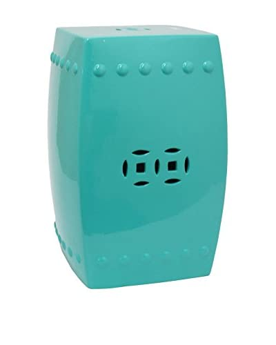 Three Hands Ceramic Stool, Aqua
