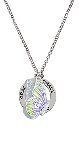 Large Translucent Purple & Lime Green Flying Butterfly - Grace Affirmation Necklace