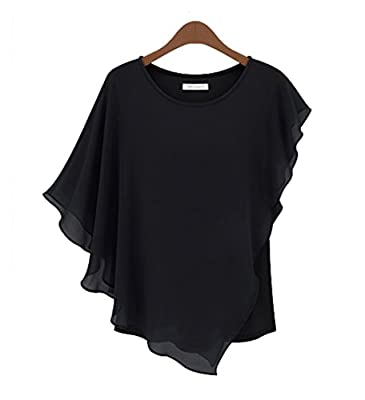 Women Casual Short Sleeve Slim Batwin Chiffon T-shirts Elegant Tops Blouse