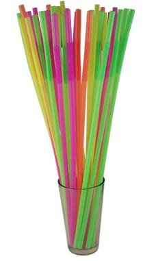"""17"""" Long Flexible Neon Straws - Assorted Colors - Pack of 200"""