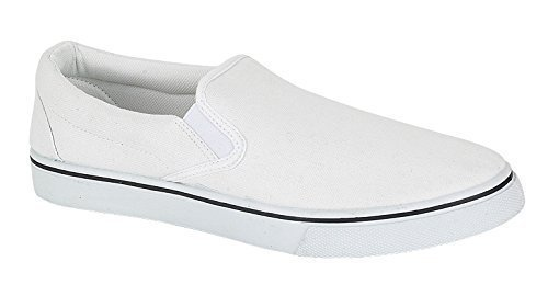 Unisex Slip On White Plimsoles. Ideal for George Michael/Miami Vice 80s look. Up to size 12.