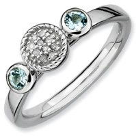 0.26ct Stackable Round Aquamarine & Diamond Ring Band. Sizes 5-10 Available