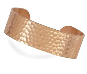 19mm Hammered Solid Copper Cuff Bracelet - JewelryWeb