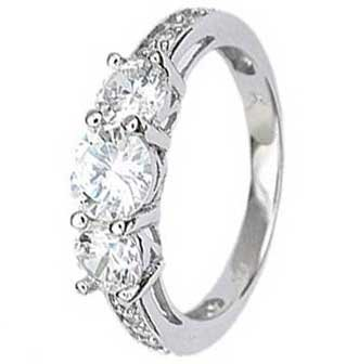 Sterling Silver Engagement Ring With Three Round Cubic Zirconias