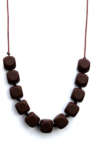 Square Bead Silicone Teething Necklace By Peacemaker Jewelry (Chocolate)