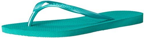 Havaianas Women's Slim Sandal Flip Flop, Lake Green/Lake Green, 37 BR/7/8 M US