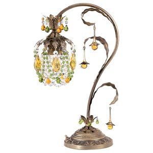 Schonbek 1249N-76OL Rondelle 1 Light Table Lamp in Heirloom Bronze with Olivine crystal