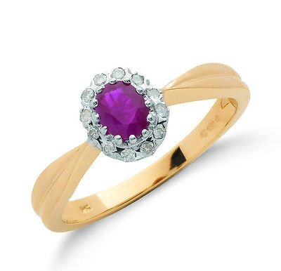 9ct Yellow Gold Real Ruby Cluster Ring With Diamond 0.60ctw