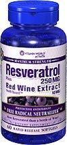 Vitamin World Resveratrol 250mg plus Red Wine Extract 10mg, 60 Softgels