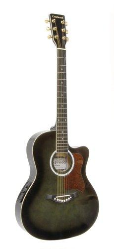 Crestwood 2017Eqbbk Solid Body Acoustic-Electric Guitar, Blackburst